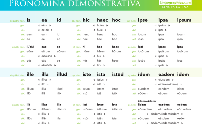 demonstrative pronouns in latin – declension